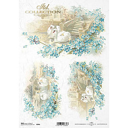 Hartie de orez A4 - flori, lebede