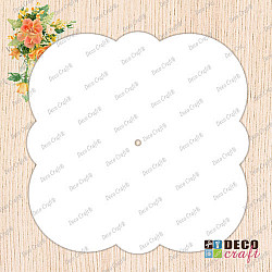Cadran ceas, acril alb - Floare patrata, 27cm