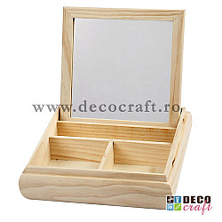 Caseta din lemn, cu oglinda - 19.5x19.5 cm