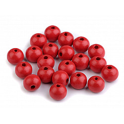 Mărgele din lemn, Ø10 mm (pachet 20 g) - roșu
