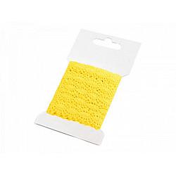 Dantelă croşetată din bumbac, lățime 12 mm (card 3 m) - galben