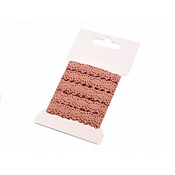Dantelă croşetată din bumbac, lățime 12 mm (card 3 m) - roz