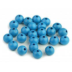 Mărgele din lemn, Ø10 mm (pachet 20 g) - albastru celest