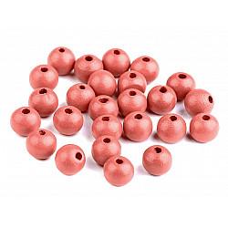 Mărgele din lemn, Ø10 mm (pachet 20 g) - roz coral