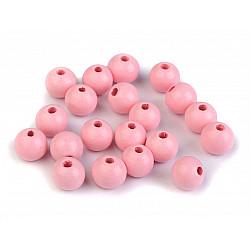 Mărgele din lemn, Ø10 mm (pachet 20 g) - roz deschis