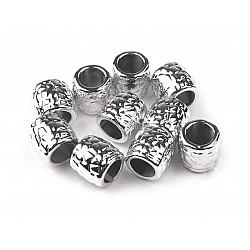 Mărgele metalizate cu gaură mare, 9x9,5 mm (pachet 10 buc.)