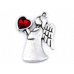 Pandantiv / Charm îngeraș cu inimioară, 24x36 mm - roșu