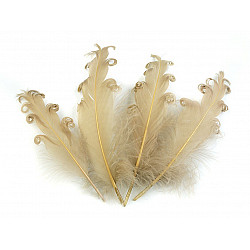 Pene crețe de găscă, lungime 12-18 cm (pachet 4 buc.) - galben muștar