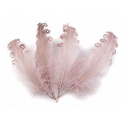 Pene crețe de găscă, lungime 12-18 cm (pachet 4 buc.) - roz antic