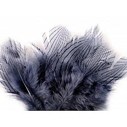 Pene decorative de fazan, lungime 5 - 11 cm (pachet 20 buc.) - albastru - fumuriu