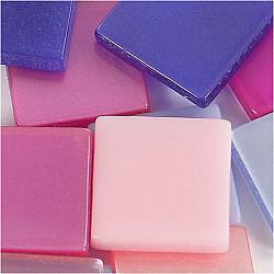 Mini Mosaic - 10x10 mm, grosime 2 mm - nuante de  mov/roz, 25g