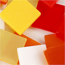 Mini Mosaic - 10x10 mm, grosime 2 mm - nuante de rosu/portocaliu, 25g