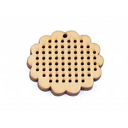 Forme din lemn pentru brodat, Ø45 mm (pachet 5 buc.) - floare natur