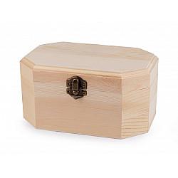 Set 3 cutii hexagonale din lemn natur