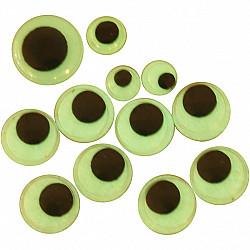 Ochi fosforescenti, D: 8+10+14 mm, autoadezivi, 300 Buc. mix