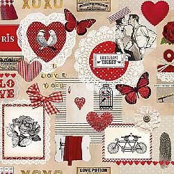 Servetele - Bilet de dragoste - 33x33cm, 1 pachet (20 buc.)