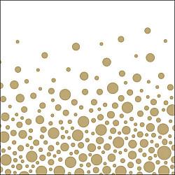 Servetele - Buline sclipitoare (auriu) - 33x33cm, 1 pachet (20 buc.)