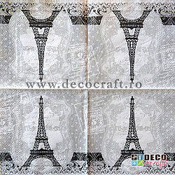Servetele - Buline si Turnul Eiffel - 33x33cm, 1 pachet (20 buc.)