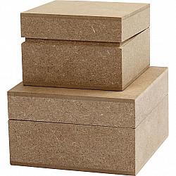 Set 2 cutii patrate, L: 7.5+9.5 cm, H: 4.8+5 cm