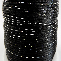 Snur satinat cu lame argintiu, 2mm - Negru